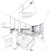 川の広がりを取込む立体的内部空間の三階建て狭小都市型住宅