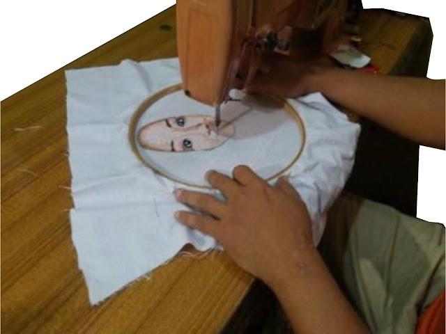 Lukis wajah teknik bordir