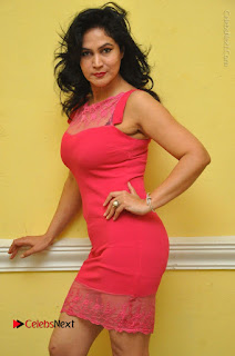 Telugu Actress Vijaya Murthy Stills in Red Short Dress at Www.Meena Bazaar Movie Opening  0012.JPG
