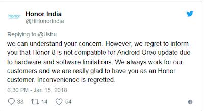 Honor 8 Tidak Akan Menerima Android Oreo, Ini Penjelasannya
