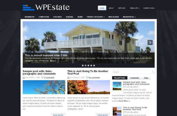 Free Business RealEstate Black Wordpress Jquery Theme - Free
