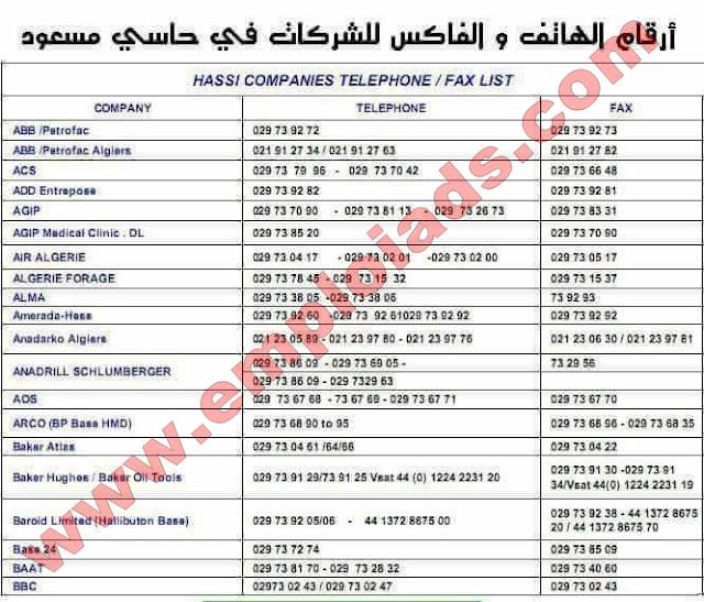 دليل اقام هواتف و فاكسات الشركات الجزائرية و الاجنبية بحاسي مسعود