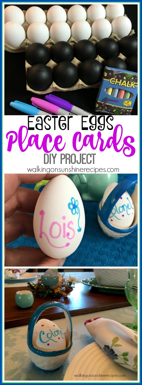 How to make Easter Eggs Place Cards DIY Project - Thursday's Tip from Walking on Sunshine Recipes.
