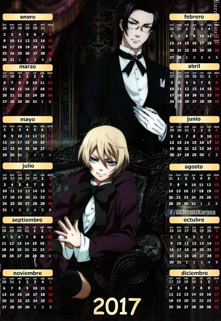 calendario 2017 kuroshitsuji ii