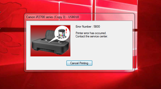 Error Number 5B00 Printer Canon IP 2770