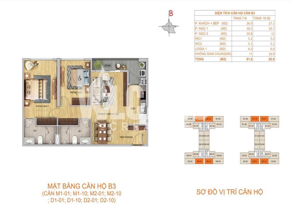 Mặt bằng căn hộ B3 - 82,6m2