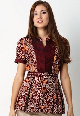 Baju atasan cantik kombinasi batik
