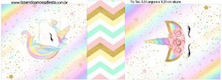 Unicornio y Arco Iris: Etiquetas para Candy Bar para Imprimir Gratis.