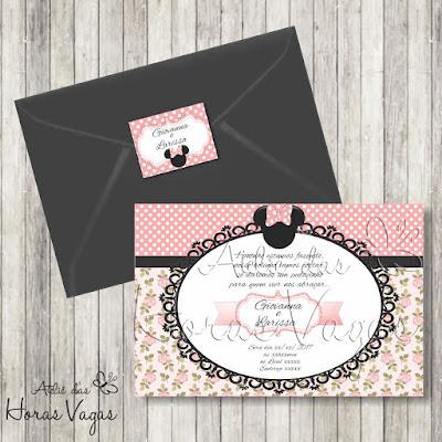 convite aniversário infantil personalizado artesanal irmãs gêmeas minnie mouse rosa delicado floral festa 1 aninho bebê disney envelope adesivo tag