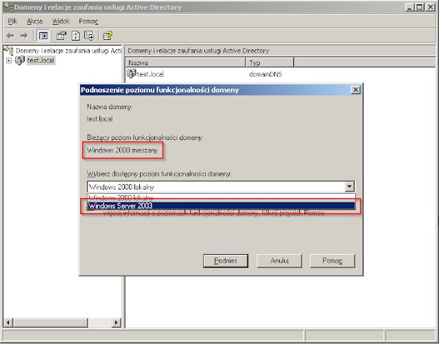 Poziom funkcjonalności domeny. Musi być minimum Windows Server 2003.