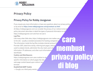 memasang privacy policy