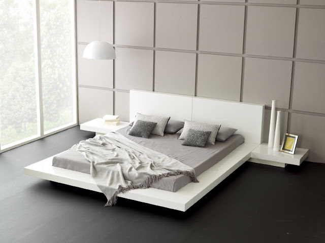 interesting white japanese platform bed on black polished floor completed with gray mattress and white hanging lamp