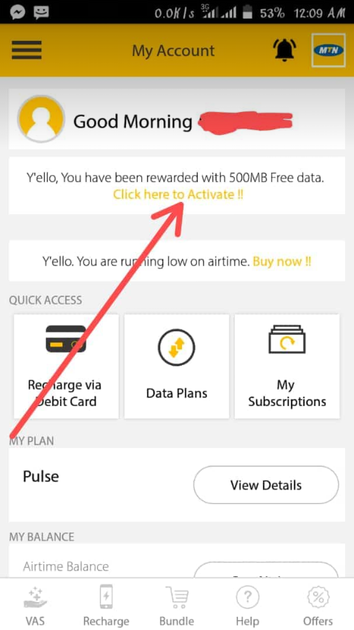 Mtn Offer - See How To Activate MTN Free 500MB On Your Mtn Sim Now