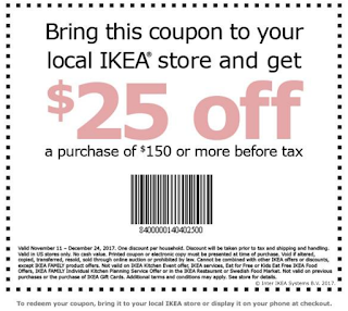 Ikea coupon 25 off 150 or more purchase heavenly steals for Coupon mobile ikea