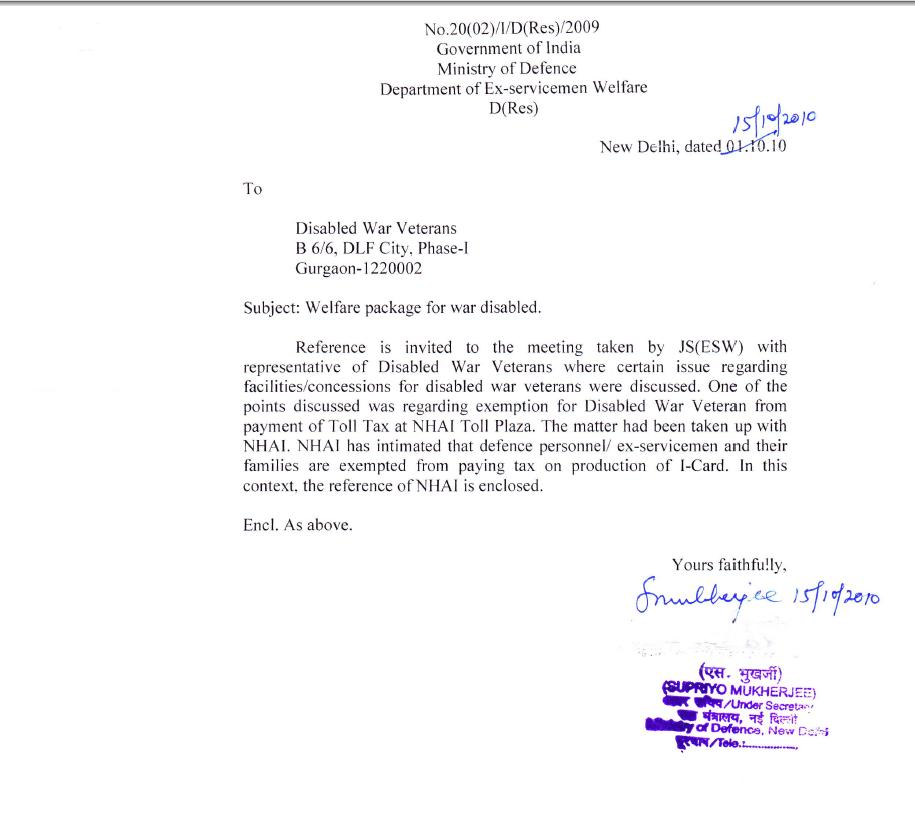 India Of My Dreams Exemption From Nhai Toll Tax Letter