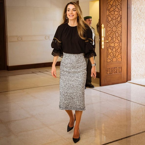 Queen Rania wore FENDI Mesh trimmed silk blouse and Roland Mouret Norley High waisted Tweed Pencil Skirt and Yves Saint Laurent pumps