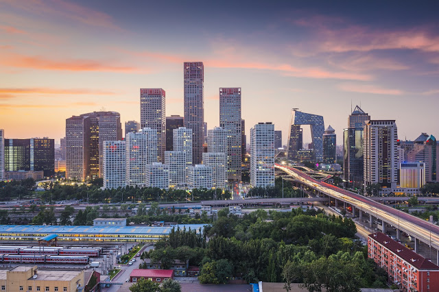 A photo of the Beijing skyline.