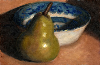 Oil painting of a green pear in front of a blue and white porcelain bowl.