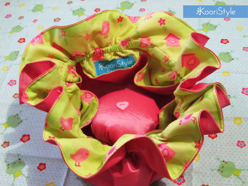 Cute Kawaii Koori Style  KooriStyle Handmade Sewing Bag Birds Bird House Green Pink Ribbon