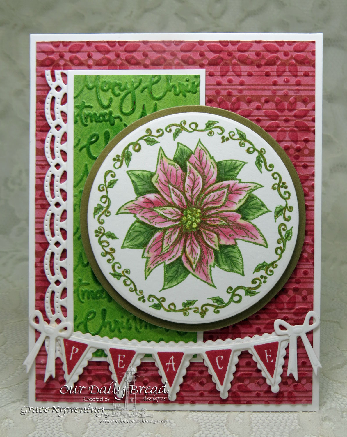 Stamps - Our Daily Bread Designs Poinsettia Ornament, Christmas Pennant Row, ODBD Custom Beautiful Borders Dies, ODBD Custom Pennant Row Die, ODBD Custom Circle Ornaments Die, ODBD Custom Matting Circles Die