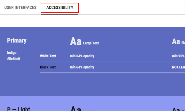 Accessibility tab