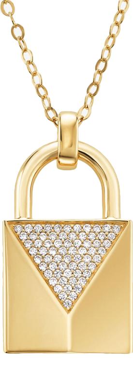 MICHAEL KORS 14K Gold-Plated Sterling Silver Pavé Lock Necklace