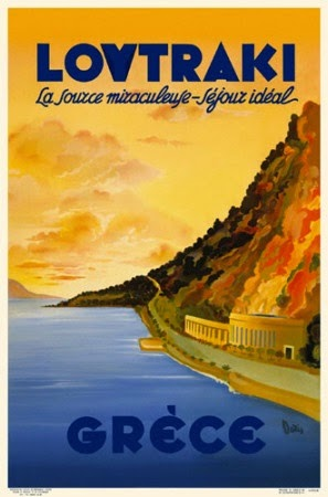 Loutraki, vintage Greek travel poster