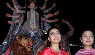 Kajol with Sarbani Mukherjee in Durga puja in Mumbai