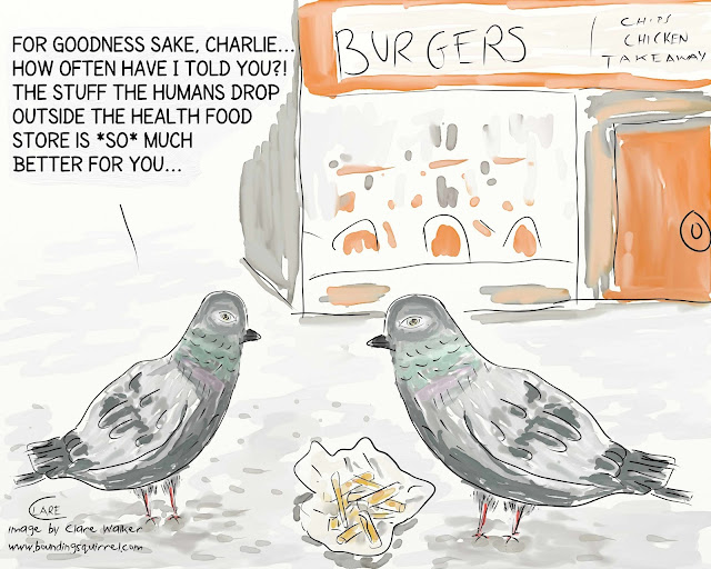 In this cartoon, a pigeon is advised to change his diet...
