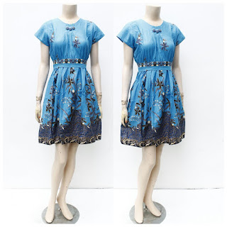 Dress Batik ainun hitam manis Biru