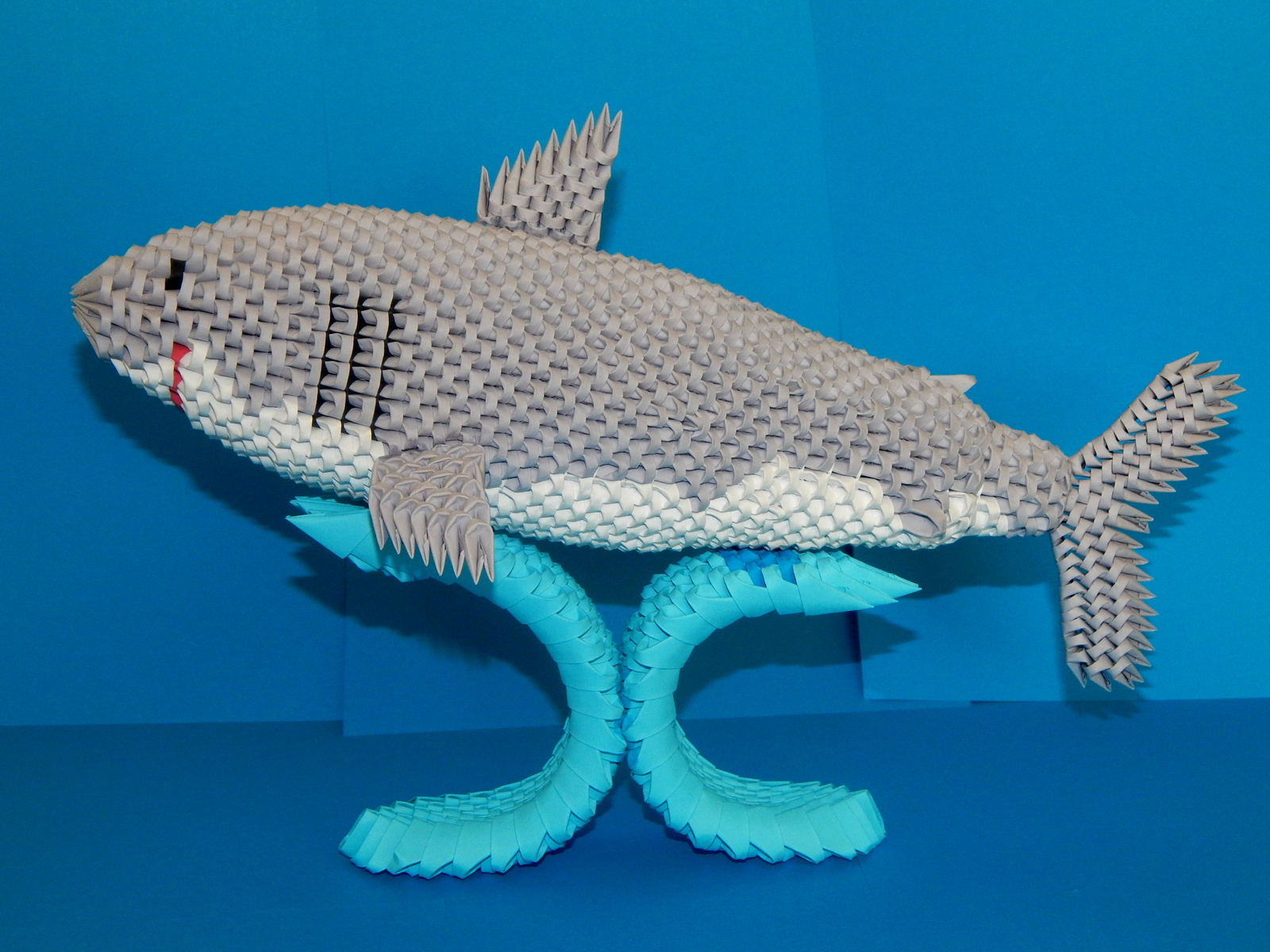 3d Origami Shark Made From Pieces