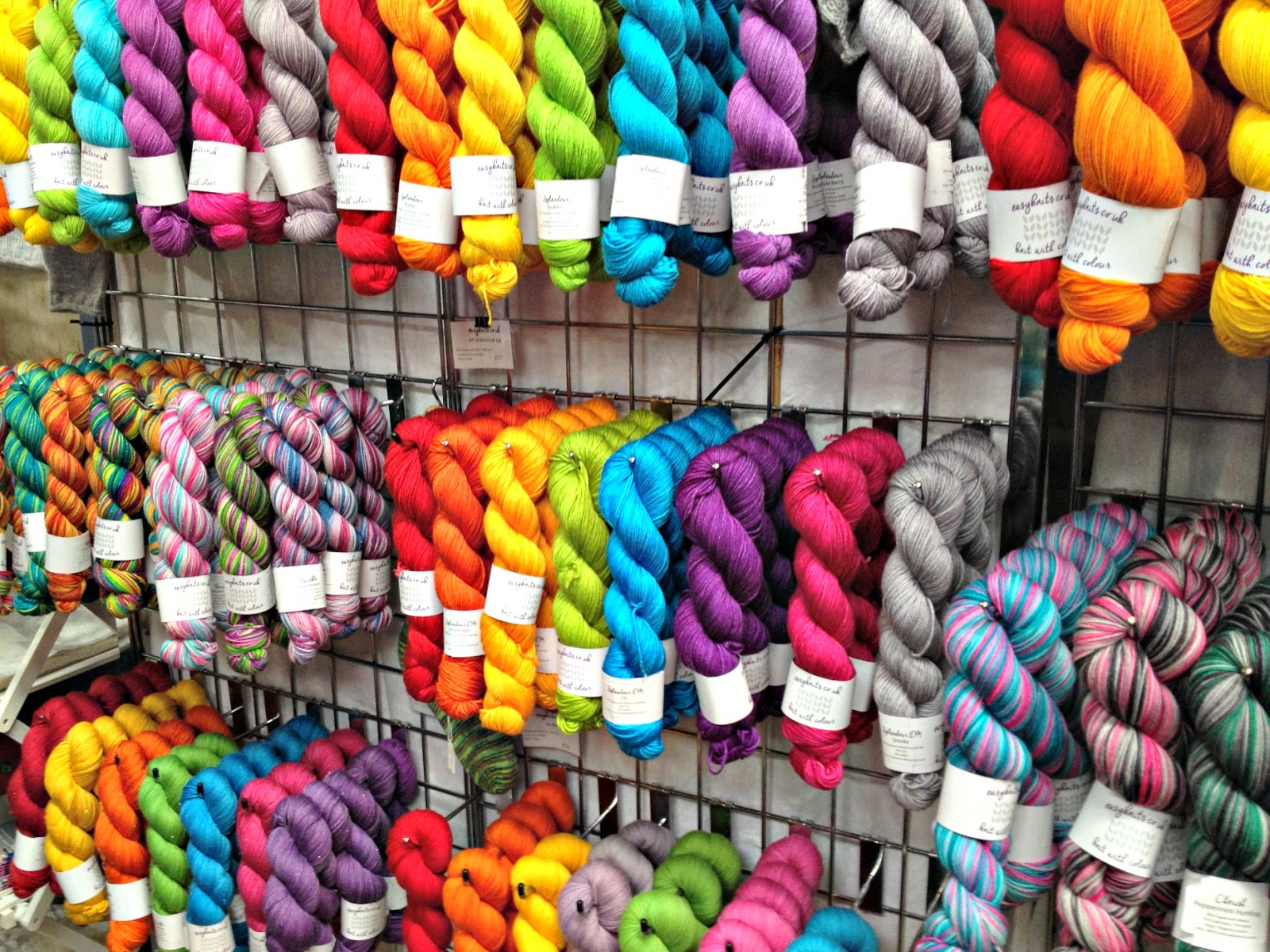 easyknits.co.uk stand at woolfest - bright colours of yarn and wool
