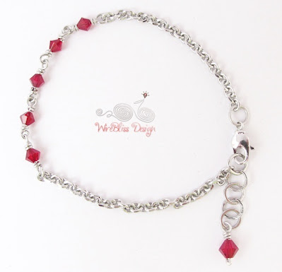 Wire Wrapped Minlet (Minima Bracelet) with 4mm Ruby Swarovski crystal