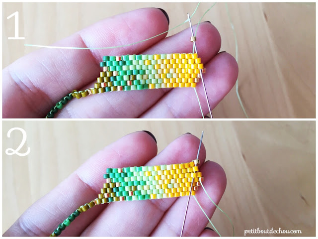 DIY Beaded ginko leaf in brick stitch increase at end of row