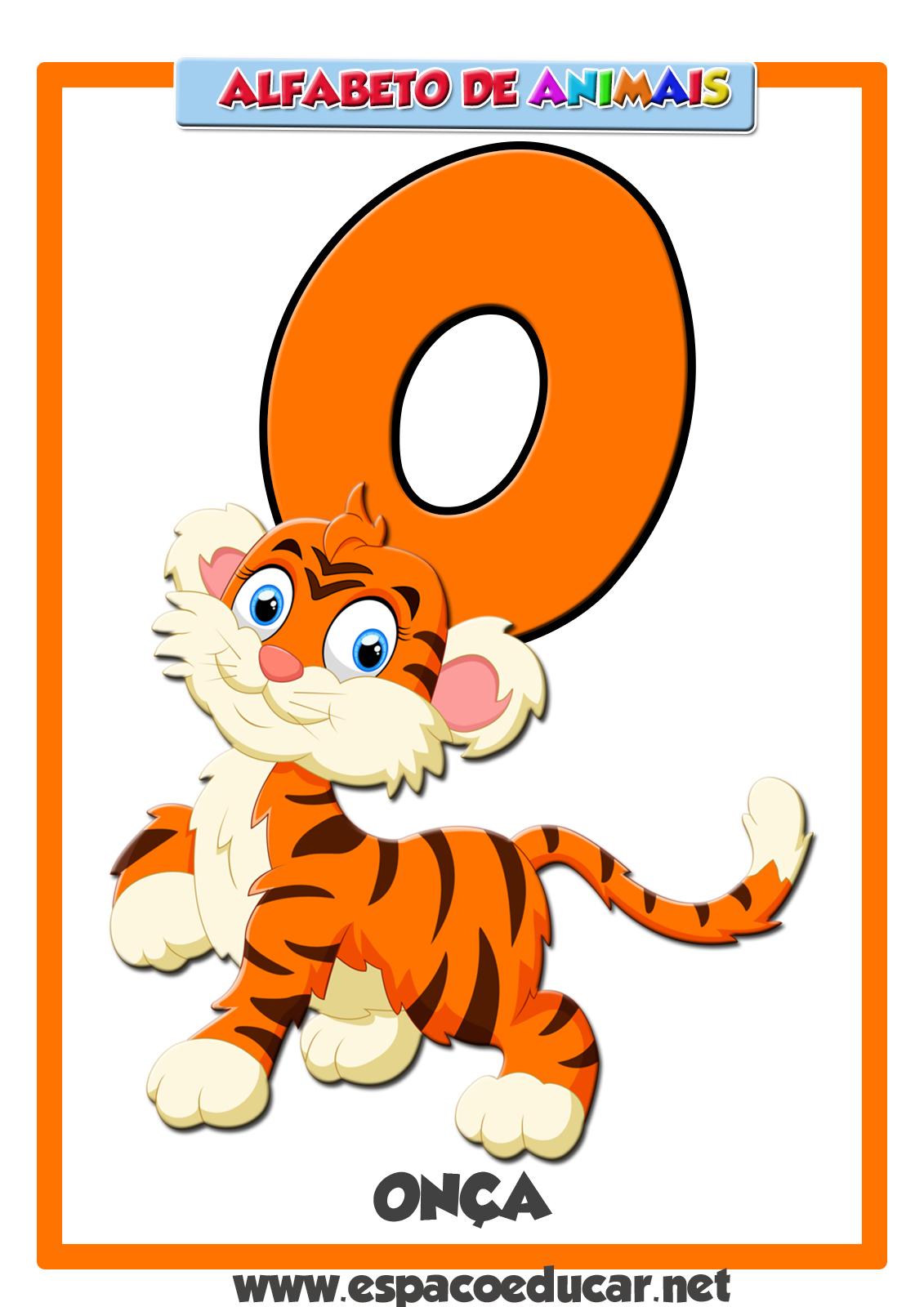 Well-known ESPAÇO EDUCAR: Alfabeto de Animais: Cartaz com a letra O, da onça ET17