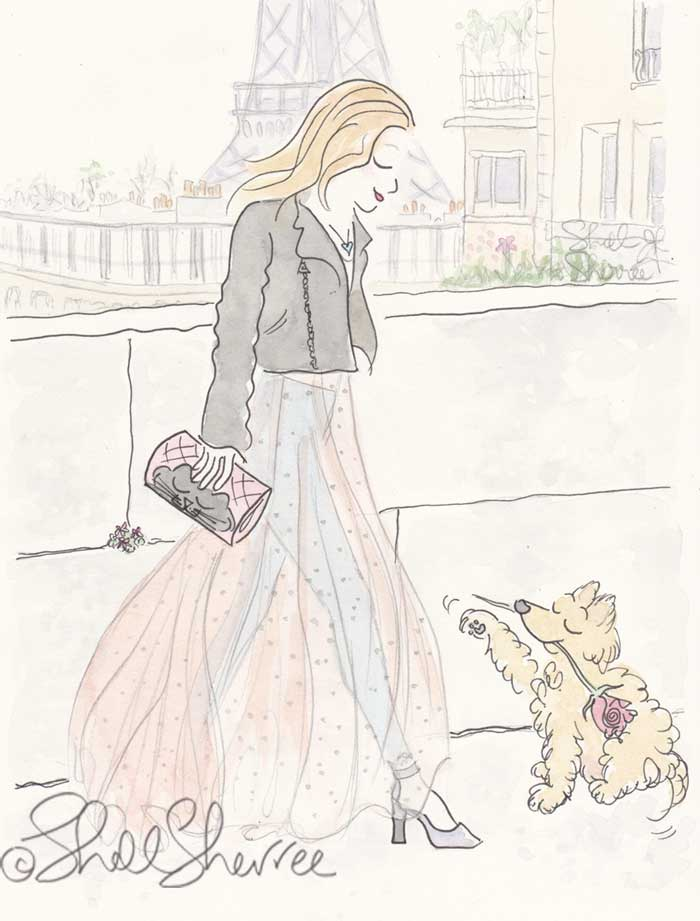 Paris Fashion and Fluffballs illustration: Sheer Puppy Love and the Eiffel Tower © Shell Sherree