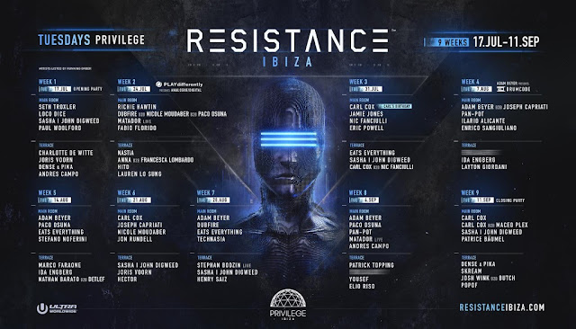Resistance Ibiza Announce Full Line-Ups for 2018 Season
