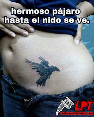 Meme de humor : Tatuaje en la concha peluda