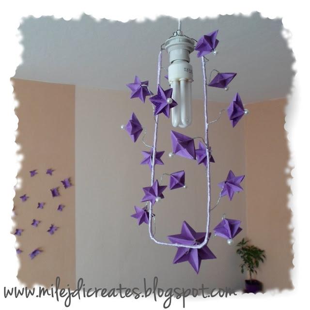 Pomysł na żyrandol z gwiazdek origami 3D DIY // My idea for DIY chandelier