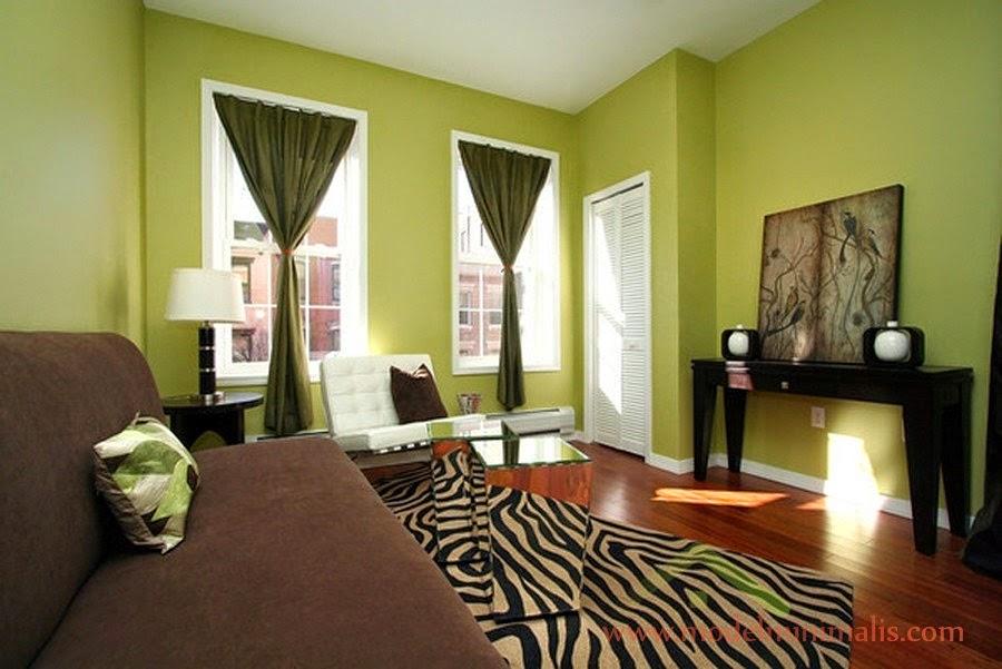 Contoh Rumah Minimalis Kombinasi Cat Warna Hijau  rumah