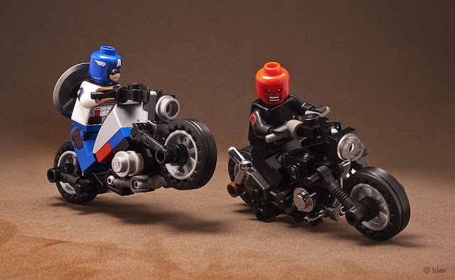 Captain America and Red Skull Bike Chase by Tiler