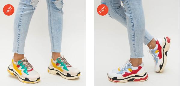 Adidasi femei ieftini moderni multicolori noi online