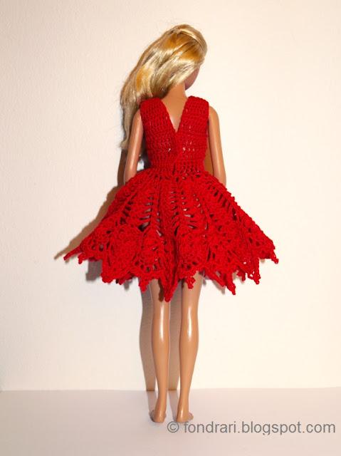 Heklaður Barbie jólakjóll bak
