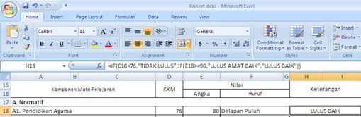 Rumus IF Pada Raport Excel