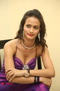 Actress Chahat Pictures in Long Dress at Follow Follow U Trailer Launch 0014