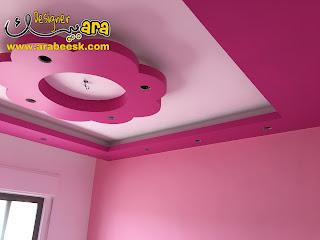 ديكورات جبس بورد غرف نوم اطفال بالألوان الزهري