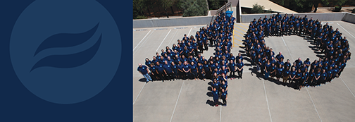 snapshot of Rio Salado web site banner with Rio brand element and photo of employees making a human 40
