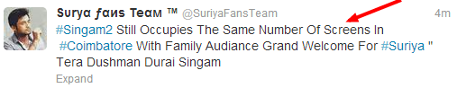 Singam2+Same+number+of+screen+collection+reports+Singam2+Celebrities+Review+www.Suriyaourhero.blogspot.in+Twitter+proof.png
