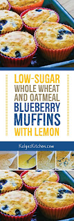 Low-Sugar Whole Wheat and Oatmeal Blueberry Muffins with Lemon found on KalynsKitchen.com