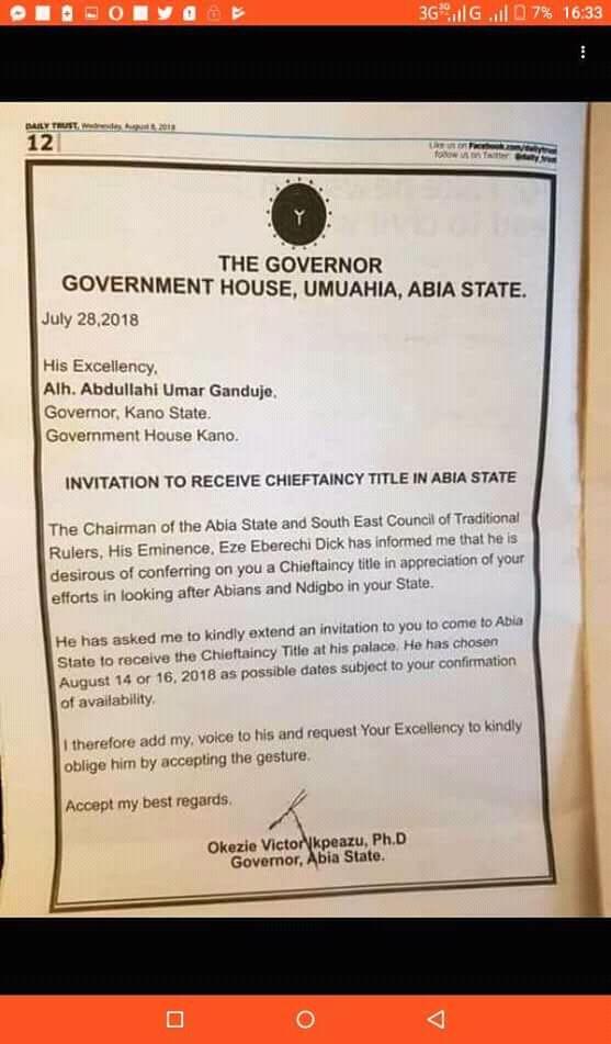 RE: Invitation to Governor Ganduje